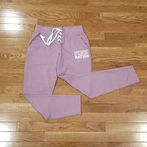 Pink lace front joggers S